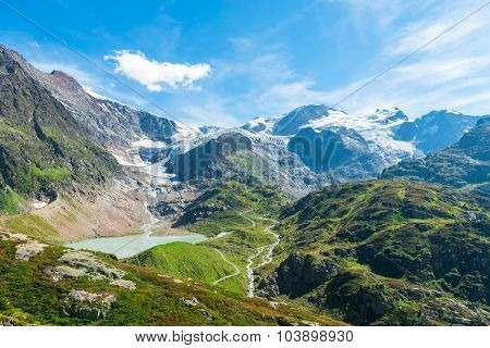 View To Steingletcher And Steinsee Nearby Sustenpass In Swiss Alps Mountains