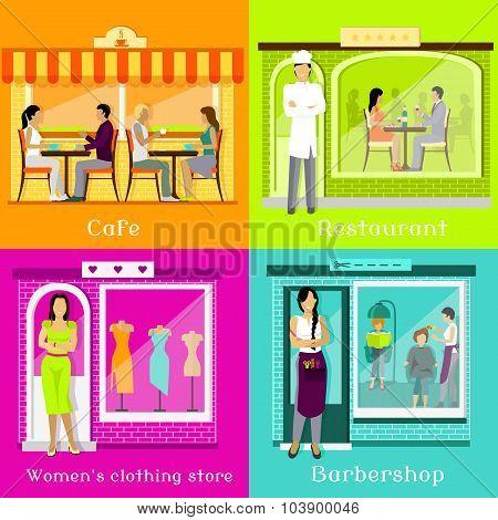 Set Cafe Restaurant Shop Hairdresser