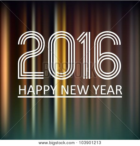 Happy New Year 2016 On Dark Color Lines Background Eps10