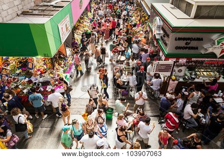 SAO PAULO, BRAZIL - CIRCA SEPTEMBER 2014: Municipal Market (Mercado Municipal) in Sao Paulo. Its a huge and bustling market with local fruit, vegetable, spice or condiment you could ask for.