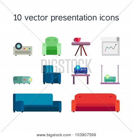 Office work icons set of projector board bollard and comfortable seats for multimedia presentation sessions in modern style. Vector poster