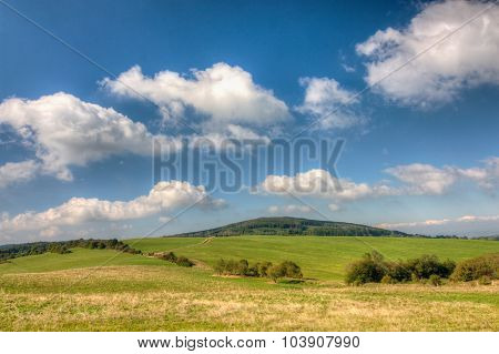 Grassfield And Blue Sky With Clouds