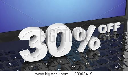 30% off white 3D numbers on black laptop keyboard