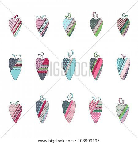 Set of different vintage tilda hearts isolated on white. Pastel colors. For festive design, announcements, postcards, posters.
