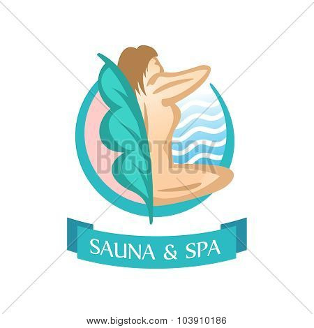 Sauna and SPA logo template. Sitting woman silhouette. poster