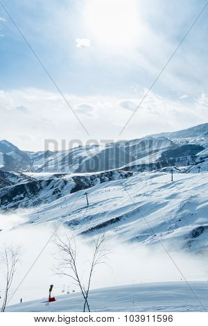 Ski lifts in Shahdag mountain skiing resort poster