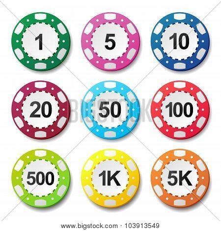 Gambling casino poker chips numbers color sign set poster