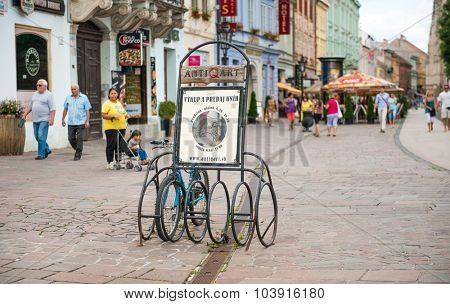 KOSICE, SLOVAKIA - JULY 10:   the historic city center on July 10, 2015 in Kosice, Slovakia. Kosice is the 2nd largest city in Slovakia with 555,800 people living in metro area.