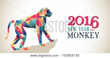 Happy China New Year Monkey 2016 Triangle Banner