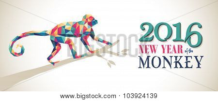 Happy China New Year Monkey 2016 Triangle Banner