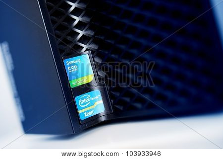 Intel Xeon Inside Ans Ssd Samsung Activated Stickers On Powerful Workstation