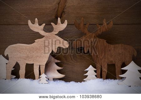 Christmas Decoration, Moose Couple In Love, Trees And Snow