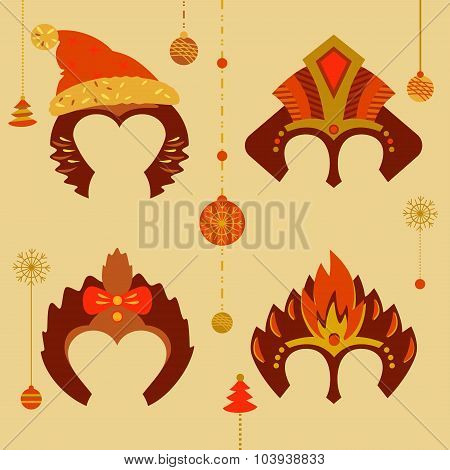 A set of masks to celebrate a happy new year 2016. Red monkey fi