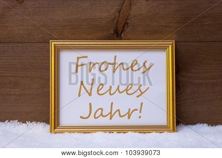 Frame With Frohes Neues Jahr Mean Happy New Year, Snow