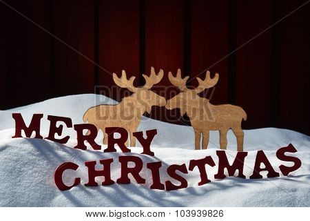 Card With Red Letter, Moose Couple, Snow Merry Christmas