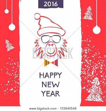 Hipster christmas red fire monkey. Hand drawn happy new year ill