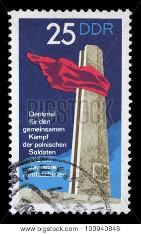 GDR-CIRCA 1972: A stamp printed in GDR shows monument to the common struggle of the Polish soldiers and German anti-fascists, circa 1972.
