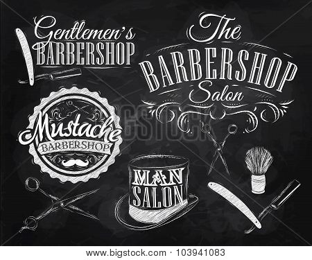 Set Barbershop scissors shaving brush razor cylinder in a retro style and stylized drawing with chalk. poster