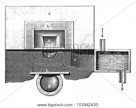 Oven handle (plan), vintage engraved illustration. Industrial encyclopedia E.-O. Lami - 1875.