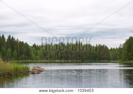 Beautiful Clouds And Forest Lake