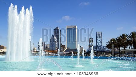 Jacksonville, Florida Skyline And Friendship Fountain