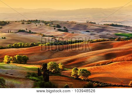 Tuscany countryside landscape at sunrise, Italy. Hilly fields, wavy terrain