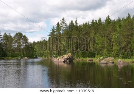 Forest Stony Lake And Cloudy Sky