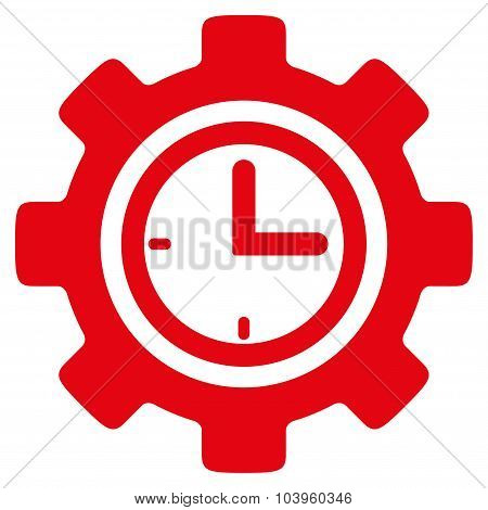 Time Setup vector icon. Style is flat symbol, red color, rounded angles, white background. poster