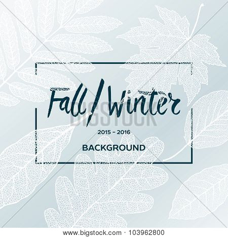 Fall Winter sale poster with leaves background and simple text