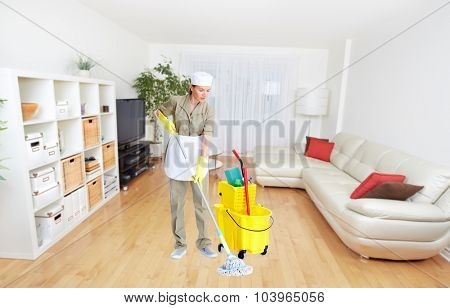 Maid woman with mop. House cleaning service concept. poster