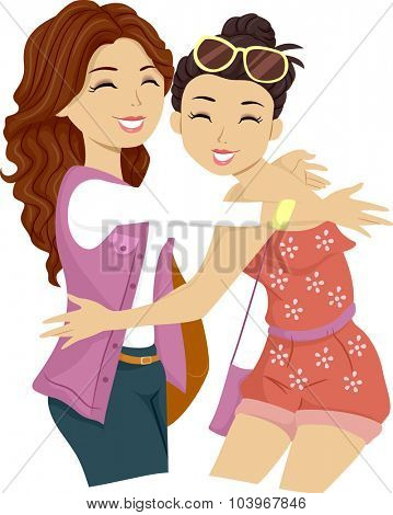 Illustration of a Female Teenager Giving Her Friend a Big Hug