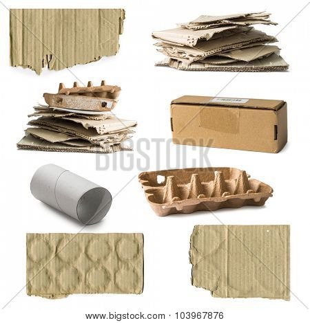 collage of pasteboard waste isolated on white background