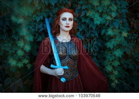 Woman Warrior With Sword Wearing A Cuirass.