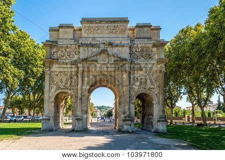 Ancient Roman Triumphal Arch Of Orange - France