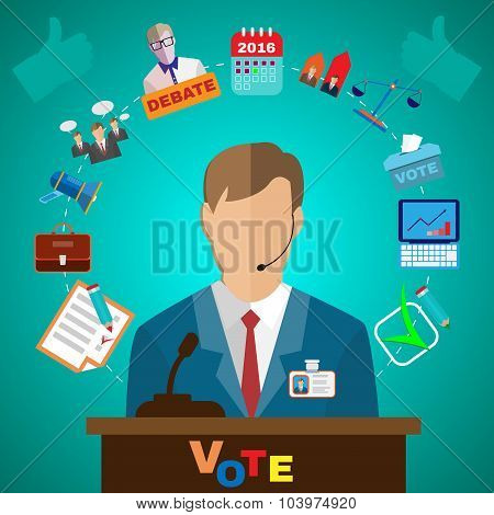 Presidential Debates Icons suited for Elections Infographics Banner or Flyer. Digital Vector Illustrations in Flat Style. Infographics Colorful Elements. poster