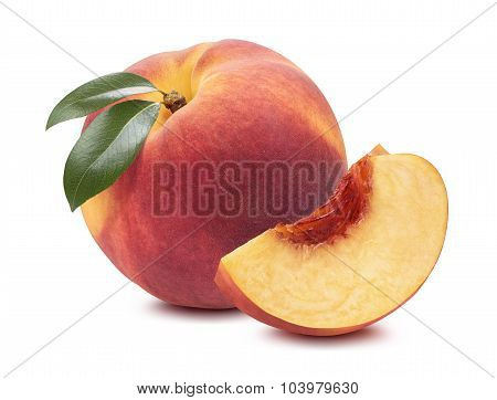 Peach Whole Quarter Piece Isolated On White Background