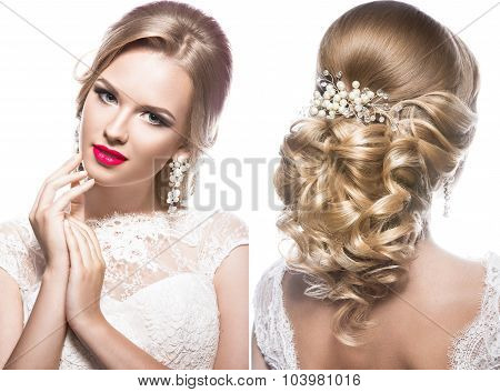 Beautiful blond woman in image of the bride with wedding accessories. Beauty face and Hairstyle