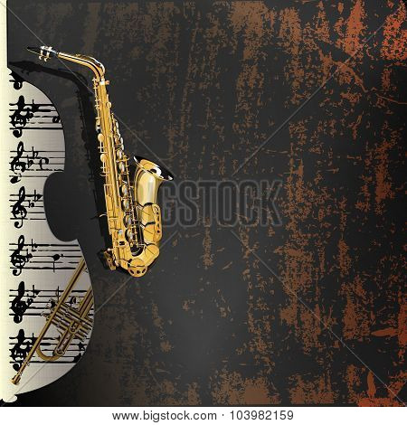 musical background in grunge style contrabass