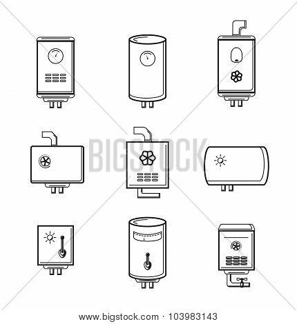 Vector boiler icons set