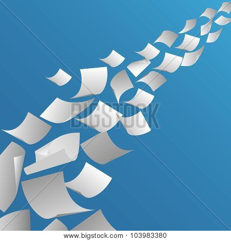 White paper sheets flying in the air