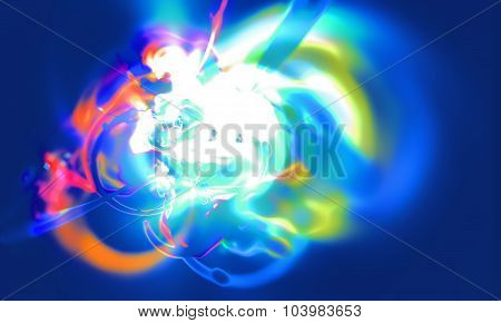 Abstract blurred scene depicting an astronomical nebula magnetic storm on unstable blue supernova. F