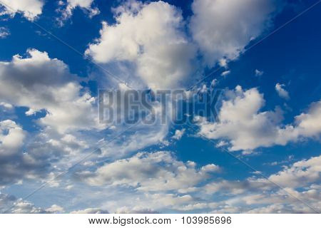 Fragment of sky with cumulus clouds and cirrus cloud summer in afternoon poster