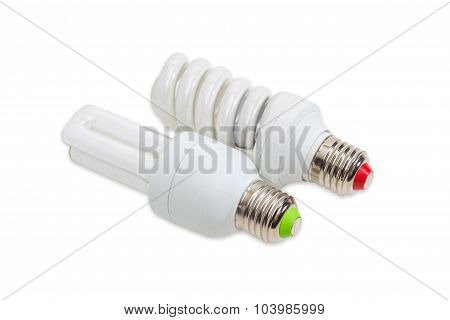 Two compact energy-saving fluorescent electric light bulb tubular type with straight and helical tubes on a light background. Isolation. poster