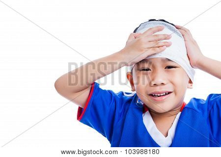 Youth Athlete Asian Child With Trauma Of The Head Crying, Isolated On White