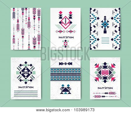 Native american tribal vector creative cards and banner