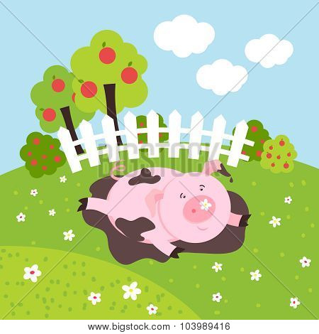 Cute smilling vector pig on a farm field