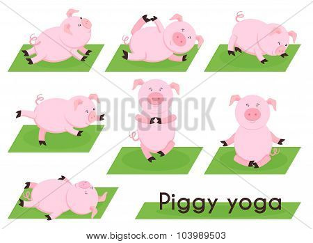 Pig yoga. Cute pig in different yoga poses