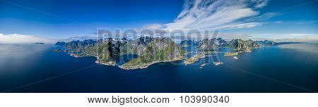 Breathtaking panorama of Lofoten islands in arctic Norway with scenic mountain peaks and fjords poster