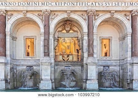 Fountain of acqua Paola in Rome