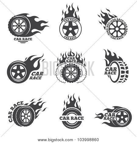 Car race logo set. Wheel with fire flame
